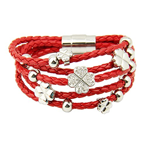 Bamoer Christmas Bracelets Promotion!! Hot Sale Multiple Colors Aaa Diamond Leather Wrap Bracelet With Four Leaf Clover Flower Unisex Lovers Crystal Bangles For Him Or Her Stainless Steel Jewelry Gift For Christmas (Red)
