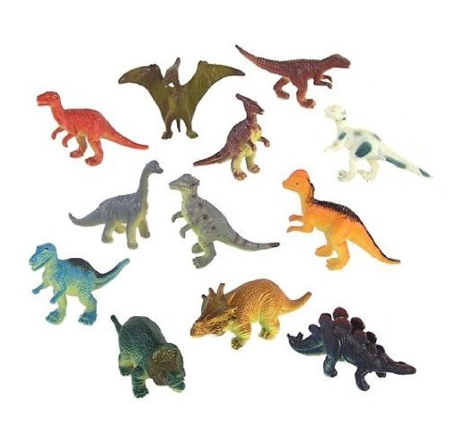 Dozen Small Toy Dinosaurs: 2 inch Plastic Toy Dino Figures - 1