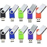 10pcs 2GB Swivel Design USB 2.0 Flash Drive Memory Stick (5 Mixed Colors: Black Blue Green Purple Red)