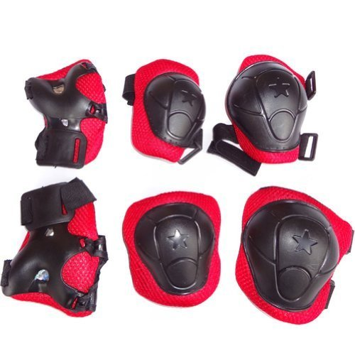 Crazycity Kid's Roller Blading Wrist Elbow Knee Pads Blades Guard 6 PCS Set Great Gift (#2 black&red) - 1