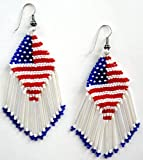 United States American Flag Patriotic Czech Glass Beads Beaded Chandelier Dangle Earrings - Red , White & Blue