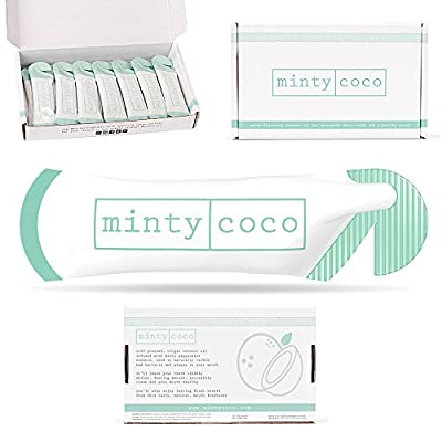 Oil Pulling Kit - Mintycoco Oral Dental Detox - For Naturally Whiter Teeth, Fresher Breath, Healthy Mouth. 14 Day Whitening Supply. Virgin Cold Pressed Coconut Oil Formulated With Peppermint Essence. 100% UK Certified/Safety Tested.