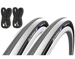 Schwalbe Lugano 700c x 23 Road Racing Bike Tyres (Pair) & Presta Inner Tubes - White by Schwalbe