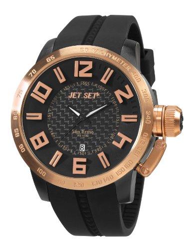 Jet Set - J6830R-267 - San Remo - Montre Homme - Quartz Analogique - Cadran Noir - Bracelet Caoutchouc Noir