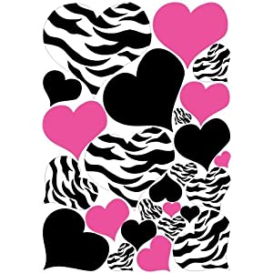 Zebra Print, Black and Hot Pink Heart Wall Stickers,decals, Graphics