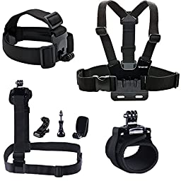 Smatree 7 in 1 Accessories Kit with Wirst/Head/Chest Strap Mount for GoPro Hero 5/4/3+/3/2/1