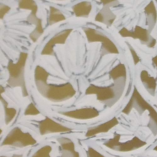 Kamal - The Lotus - Antique White - 4-Panel Handcrafted Wooden Room Divider Screen - Size: 72 inches tall by 80 inches wide - Intricate detail with carving on both sides of the screen making it fully reversible, highly versatile - It hides clutter, adds d