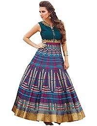 Blue Pure Bhagalpuri Digital Print Semi Stitched Gown