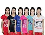 Indistar Girls Cotton Pink T-Shirt COMBO OFFER ( Pack of 6 T-Shirts)