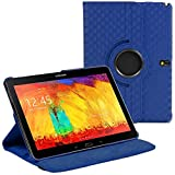 Stuff4 Diamond Designed Leather Smart Case with 360 Degree Rotating Swivel Action and Free Screen Protector/Stylus Touch Pen for 10.1 inch Samsung Galaxy Note 2014 Edition P600/P601/P605 - Navy Blue