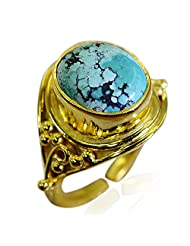 Riyo Blue Prepossessing Turquoise 18 Kt Y Gold Plating Classic Day Rings Women 17 Gprtur8-82205