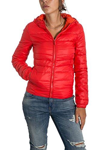 ONLY - Giacchetto piumino 100 grammi leggero con cappuccio tahoe contrast hooded m rosso