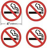 INDOOR (4 Pack) NO SMOKING 4'' Dia Sign Decal Sticker Window Door Wall stop smoke No cigarette logo