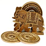 Elephant Design Wooden Tea Coaster Handicraft Gemstone Coaster