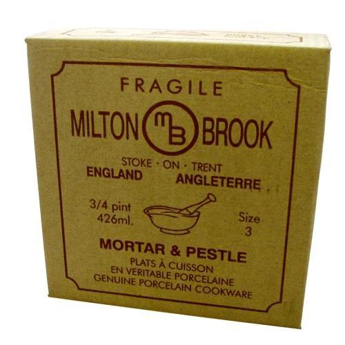"""6"""" Milton Brook Porcelain Pestle and Mortar Glazed Ceramic Avacado Colour 15cm"""
