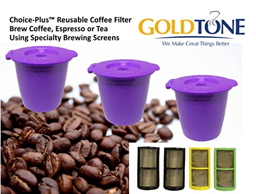 GoldTone (TM) Coffee Filter Replacement for Keurig Home Single Cup Brewing Systems, The Only Filter that Brews Coffee, Tea and Espresso - 3 Pack Choice-Plus (TM) Coffee Filters (Keurig Reusable Espresso Filter compare prices)