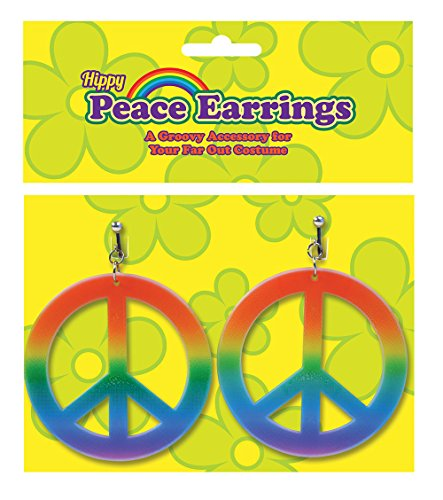 Bristol Novelty Multi Rainbow Hippie Ear Rings Costume Accessories Women's