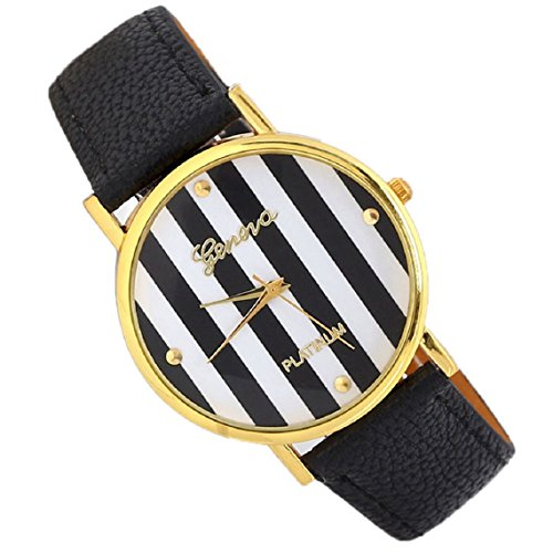Suppion Popular Fashion Woman Man Classic Stripes Print Pu Leather Analog Quartz Wrist Watch Black