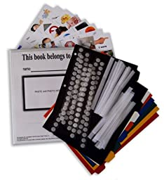 (FREE SHIPPING) All-in-One Kit for Autism Communication : 160 large color PHOTOS, 120 velcro dots, 24 velcro strips, 8 page dividers and binder (revised pics are compatible with PECS (picture exchange communication system) , ABA, VBA,...All0