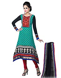 Inddus Classy Blue Embroidered French Crepe Semistitched Salwar Kameez with Chiffon Dupatta