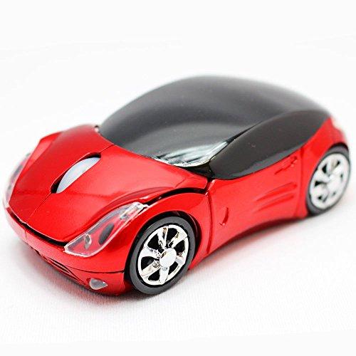 ING STYLE (イング スタイル) 光る!車型 ワイヤレスマウス 光学式 青色光学センサー 小型 軽量 コンパクト ノートパソコンに最適 (ワインレッド)