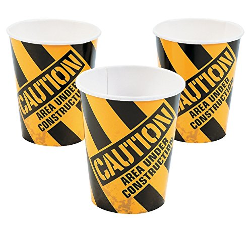 Construction Zone 9oz Cups (8 Pack) - Party Supplies