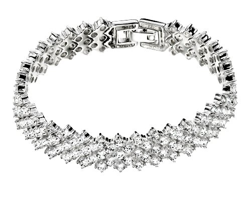 Elements Sterling Silver Ladies' B3704C Vintage Style Cubic Zirconia Bracelet