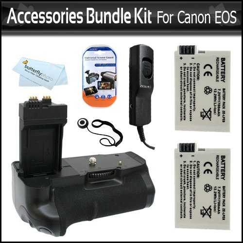 Replacement BG-E8 Battery Pack Grip / Vertical Shutter Release for Canon T2i (550D) T3i, EOS 600D, Digital SLR Camera + 2 High Capacity (1700 Mah) LP-E8 Replacement Batteries + Remote Shutter Release + Screen Protectors + Lens Keeper + More