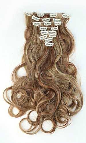 [24 Inches(61cm) 8pcs Long Full Head Clip in Hair Extensions Extension Sexy Lady Fashion Choice Curly light brown & ash] (Sexy Glamour Wig In Auburn)