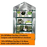 Plant Greenhouse on Wheels with Clear Cover - 4 Tiers Rack Stands- A Great Indoor Outdoor Portable Solution Kit for Home - Your Herb and Flower Garden Perfect Green House