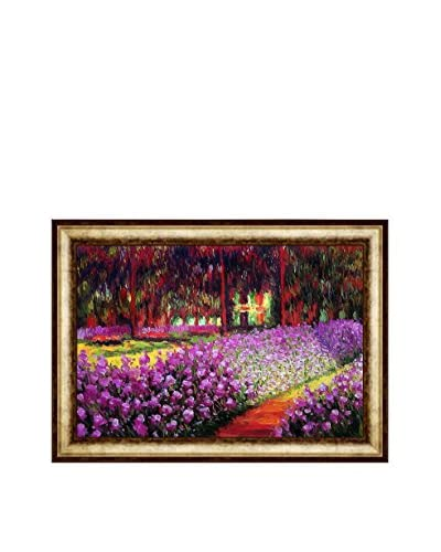 "Claude Monet ""Artist Garden At Giverny"" Framed Hand-Painted Reproduction, Multi, 31″ x 43″"