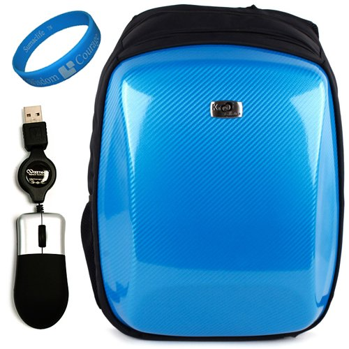 Sky Risqu Carbonfiber Protective Backpack Carrying Specimen for Acer Aspire 15.6-inch Laptop Models AS5551-2036 + Naztech USB Mini Mouse with Retractable Rope for Laptop and Desktop + SumacLife TM Wisdom Courage Wristband