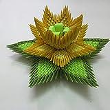 Aniviya Handmade 3d Origami Lotus:yellow And Green