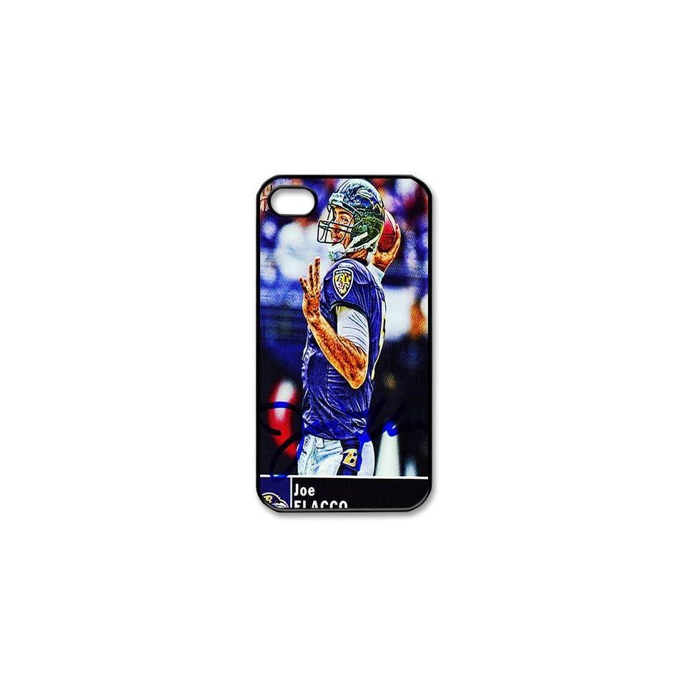 PDIYcover Custom DIY Design 7 Sports NFL Baltimore Ravens Joe Flacco Black Print Hard Shell Cover for Apple iPhone 4/4S