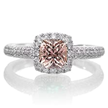 buy 2 Carat Vintage Halo Morganite And Diamond Engagement Ring On 10K White Gold