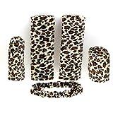 Yellow Leopard Print 5 Pcs Ornament Hand Brake for Car