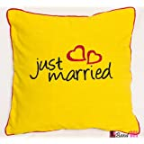 Bandbox Just Married Cushion Cover - Yellow (Size:- 16 In. X 16 In.)
