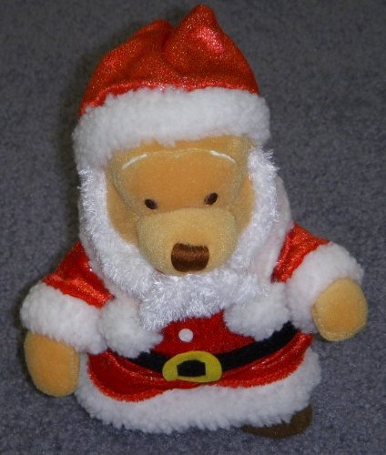 "Disney Winnie the Pooh France 8"" Plush Bean Bag Santa Doll - 1"