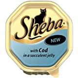 Sheba Cat Food Tray Tender Pieces of Cod in Jelly 100g (Pack of 16)