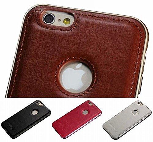 iphone6 6s 6plus 6splus アルミ バンパー レザー 背面バリア ケース タイプA 4色 黒 白 ピンク 茶  アイフォン6 6プラス スマホ 携帯 カバー  (目印に便利、「ホナまたステッカー」付き)[ケンコバハンズ]