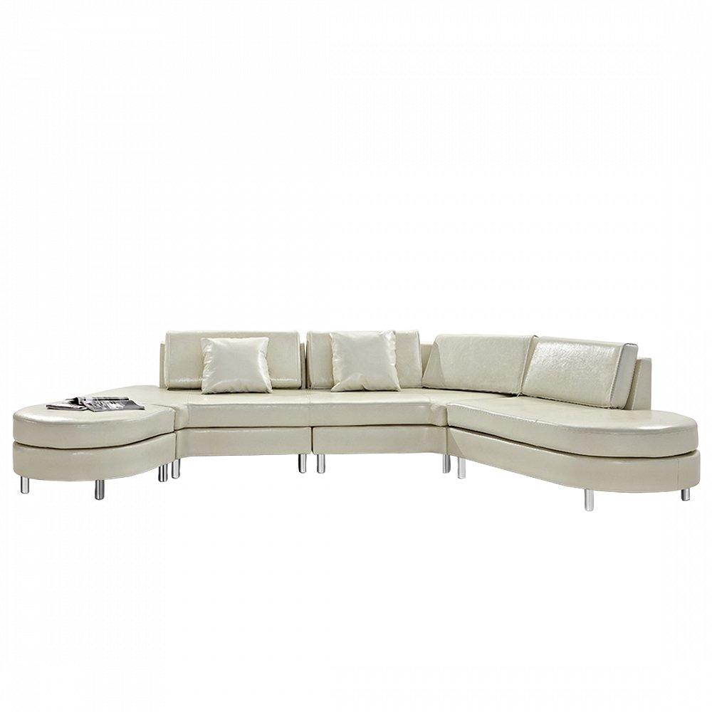 Luxurious Leather Sectional Sofa - COPENHAGEN Beige