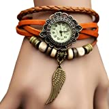 Sannsis 1PC Yellow Vintage Womens Leather Quartz Wing Beads Wrist Watches