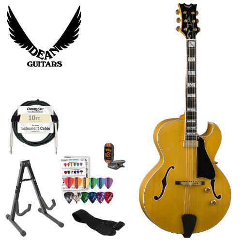 Dean Palomino Solo Electric Guitar In Antique Natural- Includes: Guitar Stand, Cable, Strap, Tuner & Pick Sampler