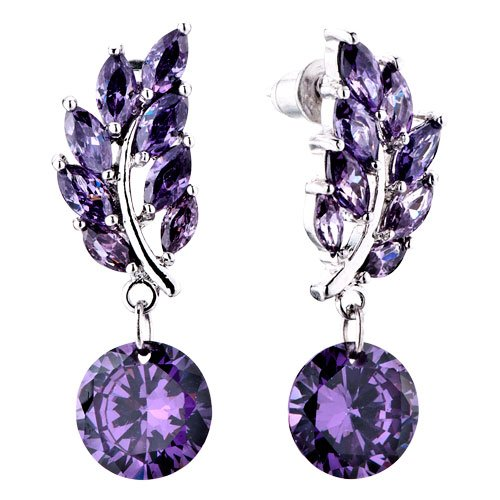 Pugster Amethyst Color February Birthstone Dangle Crystal Hoop    February Birthstone Color