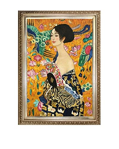 "Gustav Klimt ""Signora Con Ventaglio"" Framed Oil Reproduction"