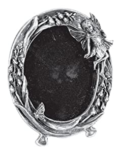 Sm. Pewter Fairy Picture Frame - Oval - Collectible Pixie Photo Figure