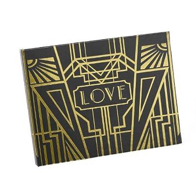 Hortense B Hewitt Art Deco Black Guest Book, Gold