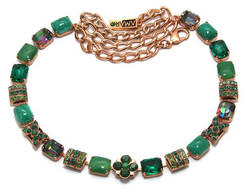 Amaro Jewelry Studio 'Deep Forest' Collection 24K Rose Gold Plated Necklace Designed with Flower Elements, Aventurine, Labradorite, Green Jade, Green Onyx and Swarovski Crystals