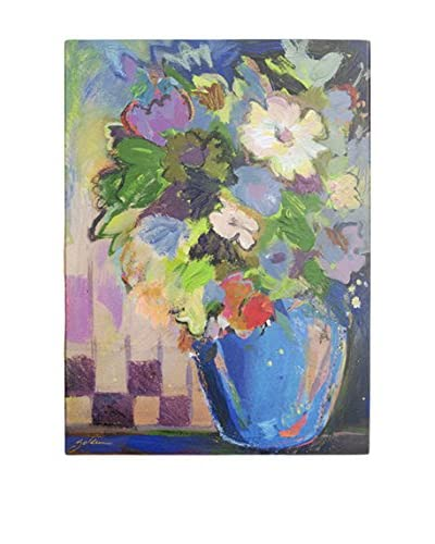Sheila Golden Cobalt Vase with Purple Wall Art As You See