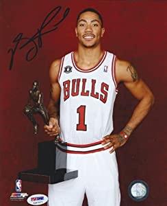 Derrick Rose Autographed Hand Signed Chicago Bulls 8x10 Photo #3 in Blue PSA DNA by Hall of Fame Memorabilia